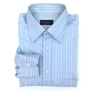 Canali Blue Multi-Color Stripe Dress Shirt -FLAWED